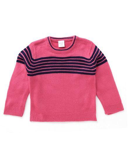 c7fc9604d Buy Wonderchild Baby Pull Over Sweater Pink   Navy for Girls (12-18 ...