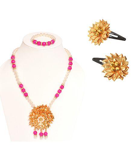 Miss Diva Ethnic Gotta Flower Necklace Bracelet & Tic Tac Set - Golden & Pink