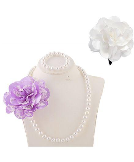 Miss Diva Elegant Flower Necklace Bracelet & Flower Tic Tac Set - Purple & White
