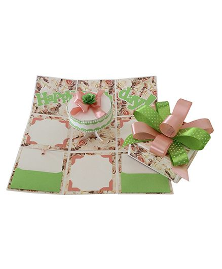 Crack of Dawn Birthday Handmade Explosion Gift Box - Peach and Green