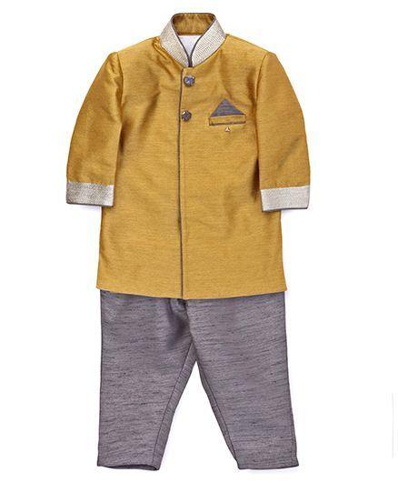 Robo Fry Full Sleeves Kurta And Pant Set - Yellow Grey