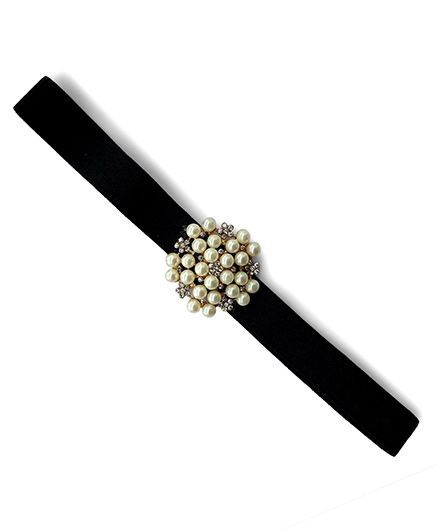 Little Miss Cuttie Elegant Diamond & Pearl Headband - Black