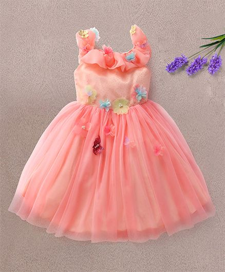 d2addf1a0889 Buy Katibi Sleeveless Party Wear Dress Floral Embellishment Peach ...