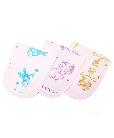Kaarpas Premium Organic Cotton Muslin Burp Cloth Pack Of 3 Adorable Animals