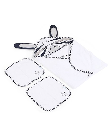 Abracadabra Hooded Towel With 2 Face Towels - White Black