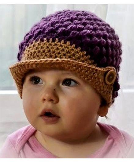 Love Crochet Art Crochet Woolen Cap For Baby Boy Purple Online in ...