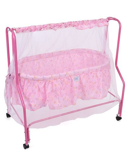 Mee Mee Cradle With Mosquito Net Smile Print MM 95A - Pink