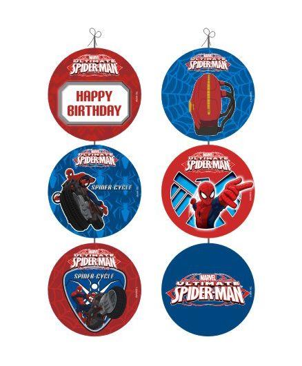 Marvel Spiderman Danglers Pack of 6 - Red Blue