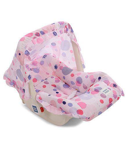 Mee Mee 5 In 1 Baby Cozy Polka Dot Carry Cot Cum Rocker - Pink