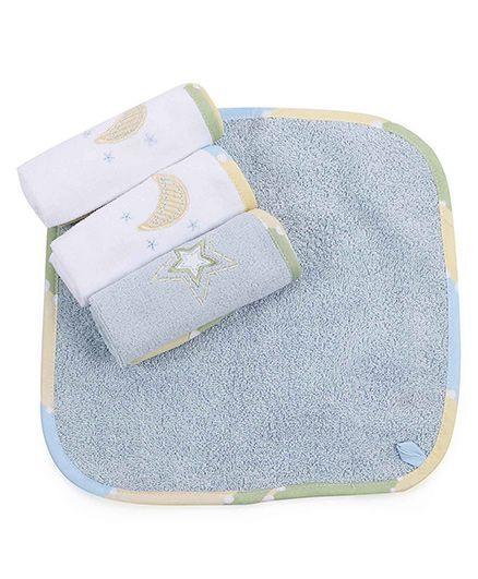 Abracadabra Moon And Stars Design Face Towels Set Of 4 - Aqua Blue White