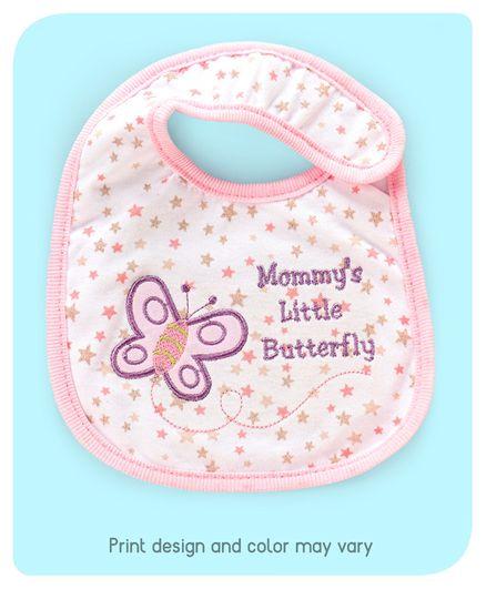 Babyhug Bib Velcro Closure Butterfly Embroidery