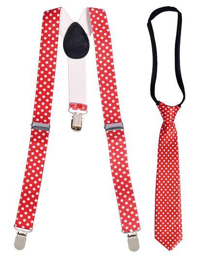 Miss Diva Polka Dots Suspender With Tie Set - Red