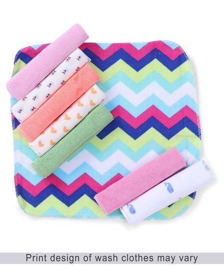 Babyhug Knit Printed Wash Cloth Pack of 8 (Color And Print May Vary)