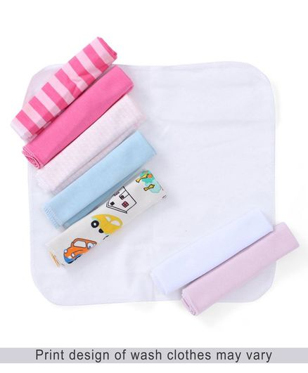 Babyhug Knit Wash Cloth Pack Of 8 - Multi Color