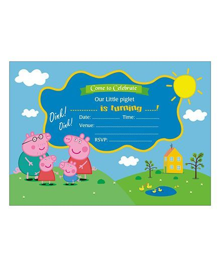 02f6eeae540 Peppa Pig Theme Invitations Pack Of 10 Online in India