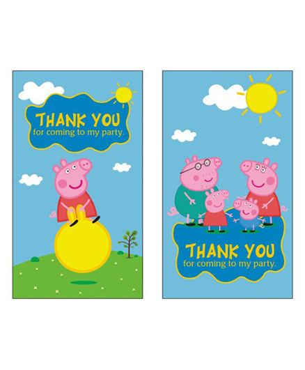 Peppa Pig Theme Thank You Cards Pack Of 10 Multicolour Online In