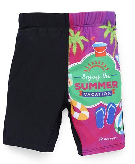 Rovars Swimming Trunks Summer Vacation Print - Black & Multicolor