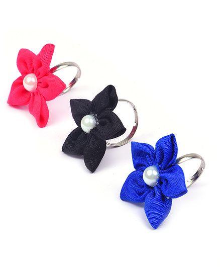 Knotty Ribbons Adjustable Handmade Flower Rings - Pink Blue & Black