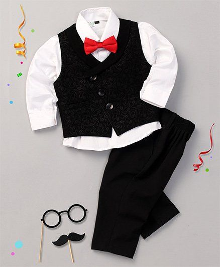 Babyhug 3 Piece Party Suit With Bow - Black & White