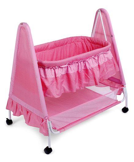 Babyhug Angel Dreams Cradle With Storage Basket & Mosquito Net - Pink