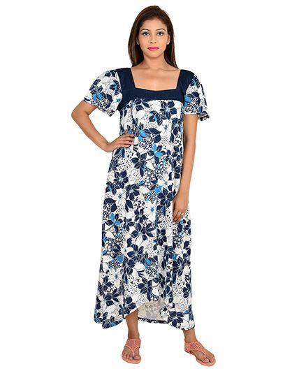 9teenAGAIN Half Sleeves Floral Printed Nursing Nighty Navy Online ... b4544f84c
