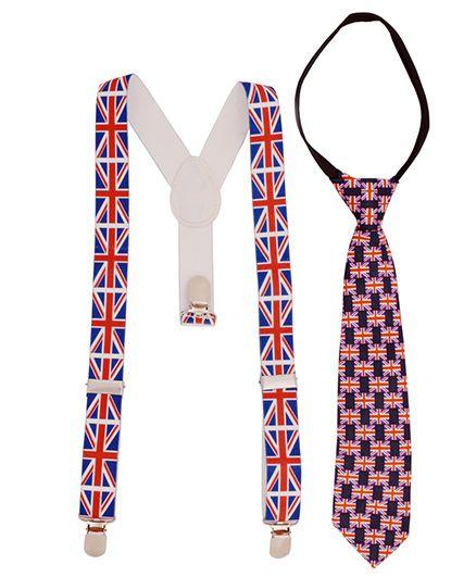 Miss Diva Set Of Flag Printed Tie & Suspender - Navy Red & White