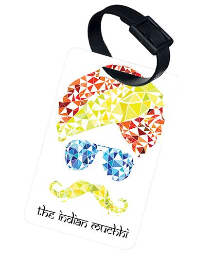 The Crazy Me The Indian Mutchii Printed Luggage Tag - White