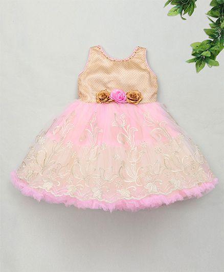 M'Princess Party Dress With Flower Applique - Pink