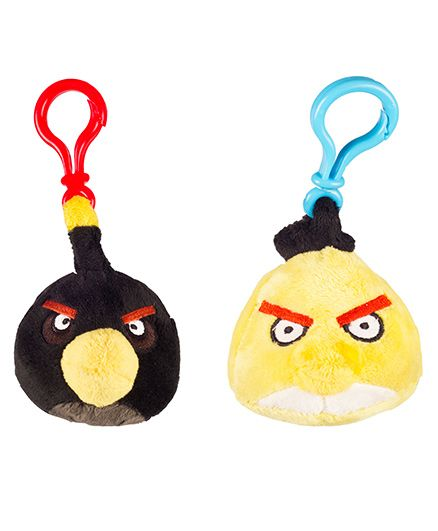 Angry Birds Back Pack Clip Pack Of 2 - Black Yellow