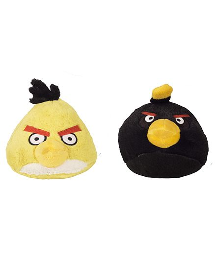 Angry Birds Soft Toys Pack Of 2 Yellow And Black - 12 cm