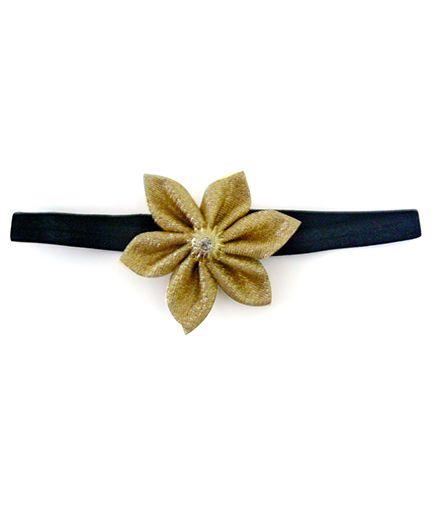 Pink Velvetz Glittery Flower Headband - Golden