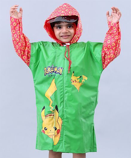 Babyhug Full Sleeves Hooded Raincoats Pokemon Pikachu - Green & Red