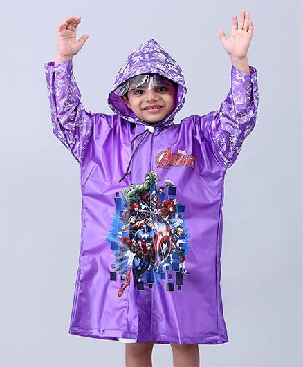 Babyhug Full Sleeves Hooded Raincoat Avengers - Purple