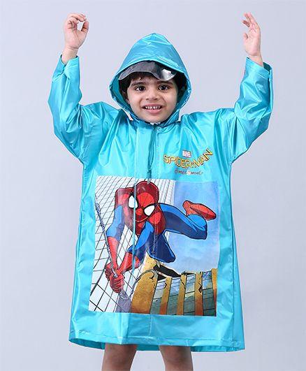 Babyhug Raincoat Spiderman Print - Sky Blue