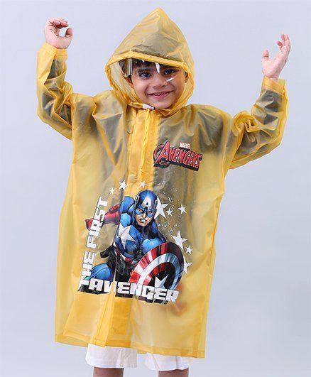 Babyhug Raincoat Captain America Print - Yellow