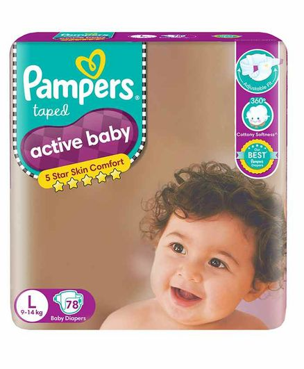 Pampers Active L Diapers (78 Pieces)
