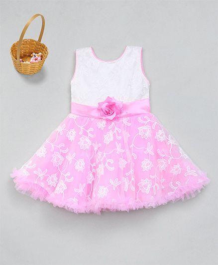M'Princess Trendy Flower Design Party Dress - Pink