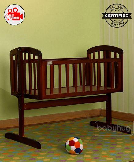 Babyhug Joy Cradle With Mosquito Net - Walnut Color