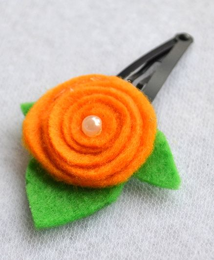Pretty Ponytails Rose Flower With Pearl Leaf - Orange, White & Green