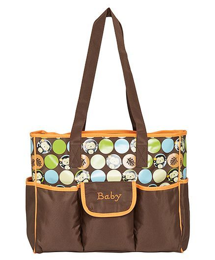 EZ Life Happy Monkey Printed Baby Diaper Carry Bag - Brown & Orange