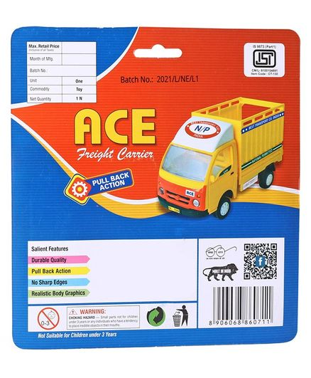 Centy Pull Back Tata Ace Freight Carrier - Red