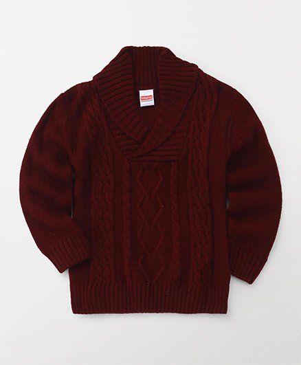 Babyhug Full Sleeves Pullover Sweater - Maroon