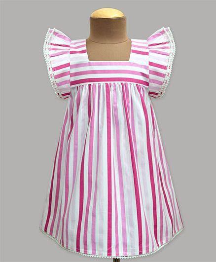 A.T.U.N Plum Passion Stripe Angel Sleeve Dress - Pink