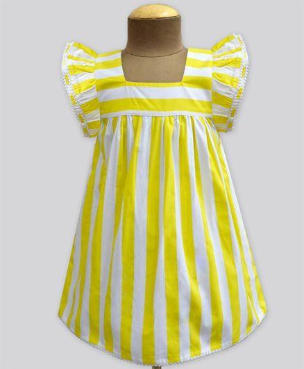A.T.U.N Stripe Angel Sleeve Dress - Yellow