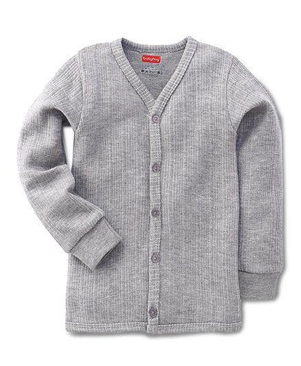 Babyhug Full Sleeves Front Open Thermal Vest - Light Grey