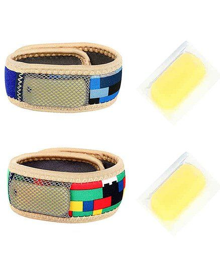 Safe-O-Kid Reusable Fabric Mosquito Repellent Bands Pack Of 2 - Blue Multicolor