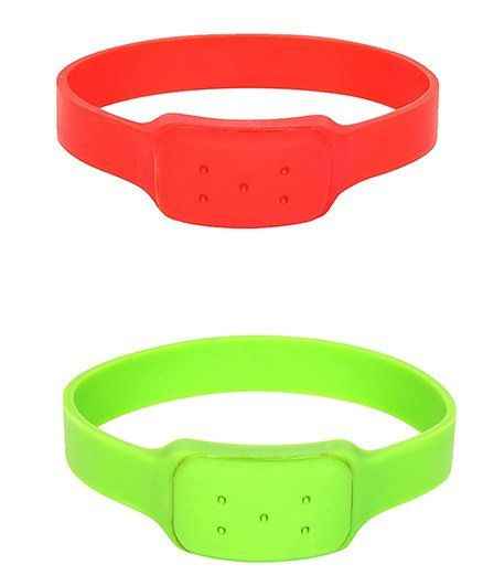 Safe-O-Kid Watch Style Mosquito Repellent Bands Pack Of 2 - Red Green