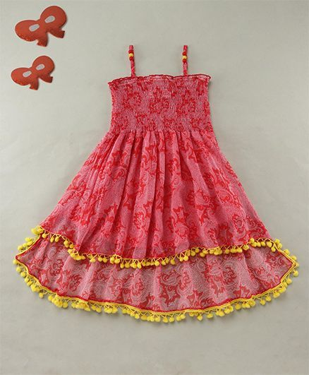 Soul Fairy Paisely Dress Strappy With Smocking On The Yoke - Red