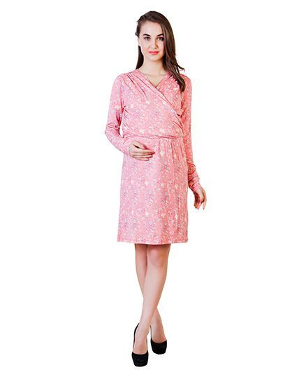 Blush 9 Knee Length Printed Maternity Dress - Peach