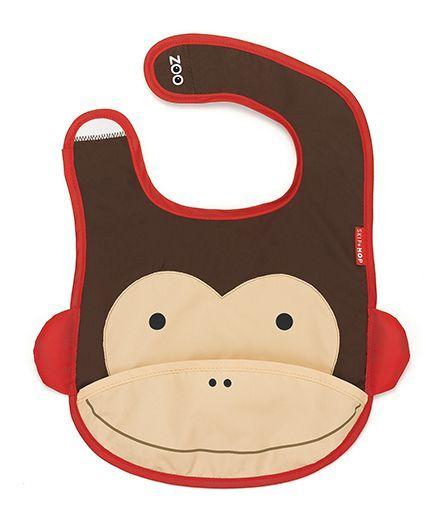 Skiphop Zoo Tuck-Away Bib Marshall Monkey Design- Brown